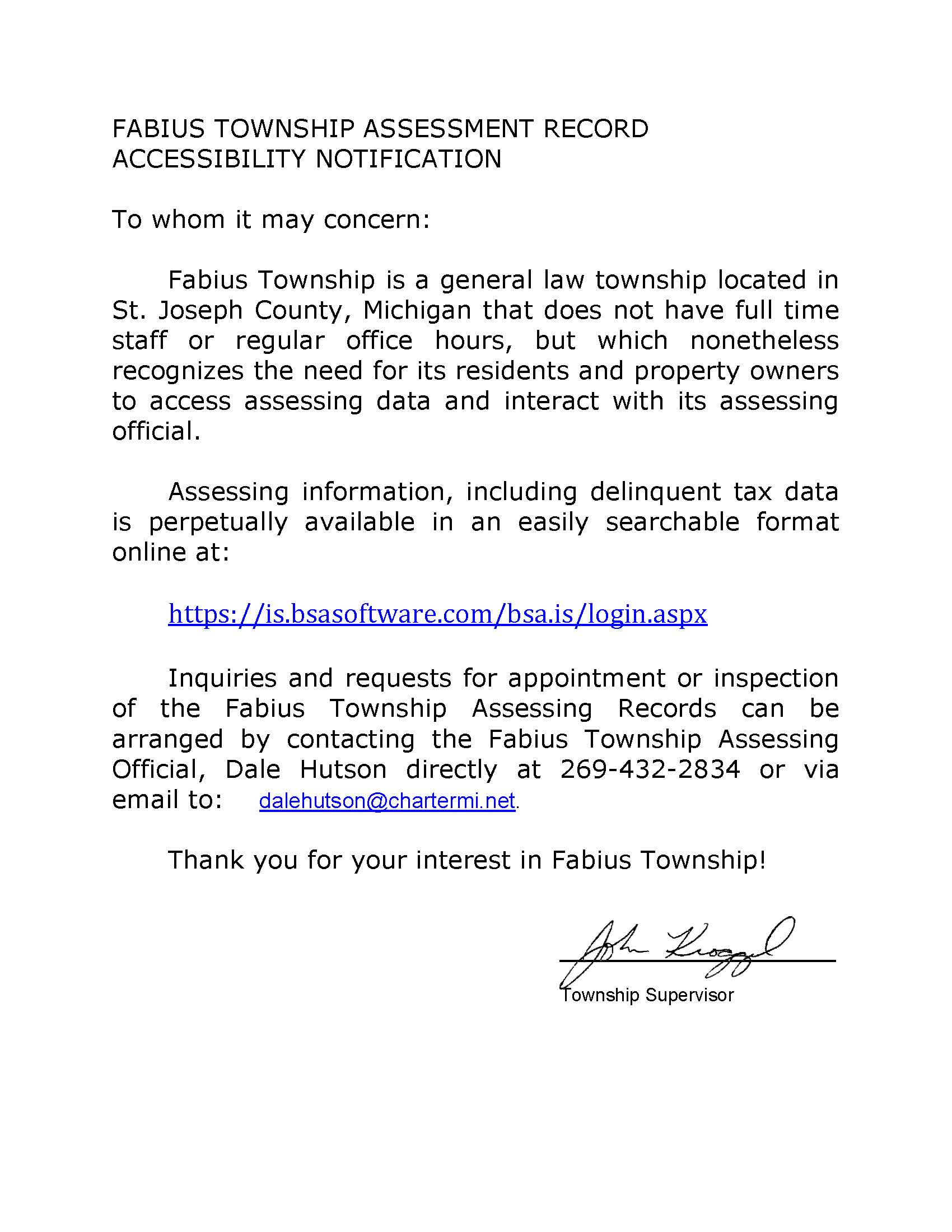 TOWNSHIP ASSESSMENT RECORD ACCESSIBILITY NOTIFICATION